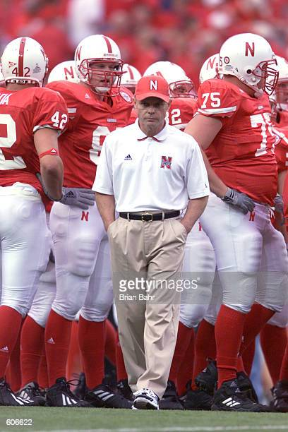 Head coach Frank Solich of the Nebraska Cornhuskers before the game against the Notre Dame Fighting Irish at Memorial Stadium in Lincoln Nebraska The...