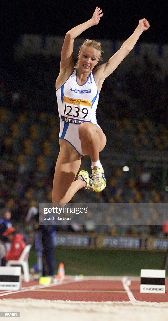 Heli Koivula of Finland in action during the Womens Triple Jump during the athletics at the ANZ Stadium during the Goodwill Games in Brisbane, Australia. DIGITAL IMAGE Mandatory Credit: Scott Barbour/ALLSPORT