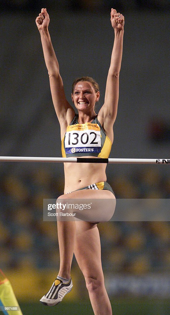 Hestrie Cloete of South Africa celebrates the Gold medal with a jump of two metres during the Womens High Jump during the athletics at the ANZ Stadium during the Goodwill Games in Brisbane, Australia. DIGITAL IMAGE Mandatory Credit: Scott Barbour/ALLSPORT