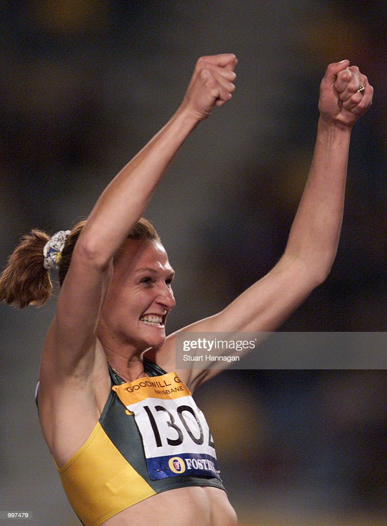 Hestrie Cloete of South Africa celebrates winning the Womens High Jump that she won with a jump of two metres during the athletics at the ANZ Stadium during the Goodwill Games in Brisbane, Australia. DIGITAL IMAGE Mandatory Credit: Stuart Hannagan/ALLSPORT