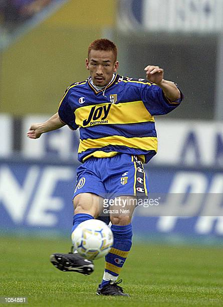 Hidetoshi Nakata of Parma in action during the Serie A 4th Round League match between Parma and Brescia played at the Ennio Tardini stadium Parma...