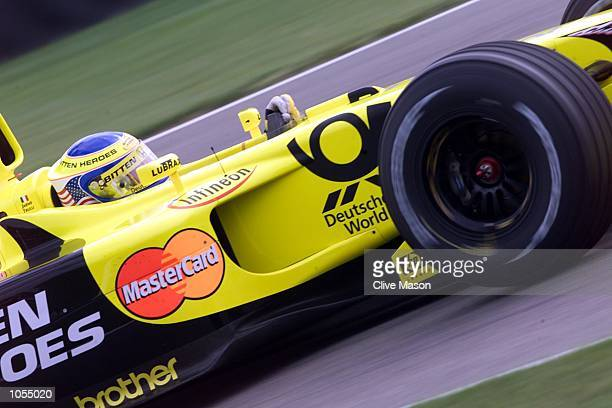 Jarno Trulli of Italy and Jordan during todays practice for the USA Formula One Grand Prix Indianapolis Indiana DIGITAL IMAGE Mandatory Credit Clive...