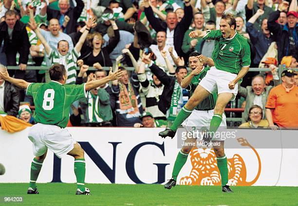 Jason McAteer of the Republic of Ireland celebrates his goal during the World Cup Qualifier against Holland played at Lansdowne Road in Dublin...