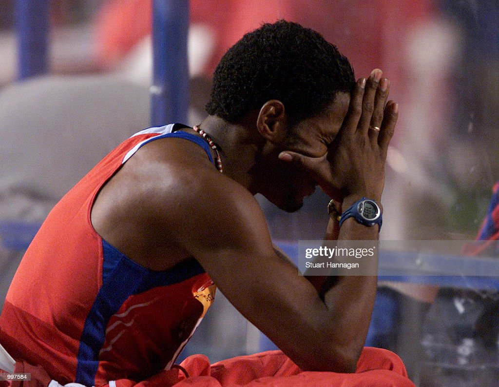 Javier Sotomayor of Cuba is dejected after finishing fifth in the Mens High Jump during the athletics at the ANZ Stadium during the Goodwill Games in Brisbane, Australia. DIGITAL IMAGE Mandatory Credit: Stuart Hannagan/ALLSPORT