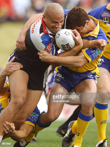 Jerry Seu Seu of the Warriors in action during the NRL fourth qualifying final between the Parramatta Eels and the New Zealand Warriors held at...