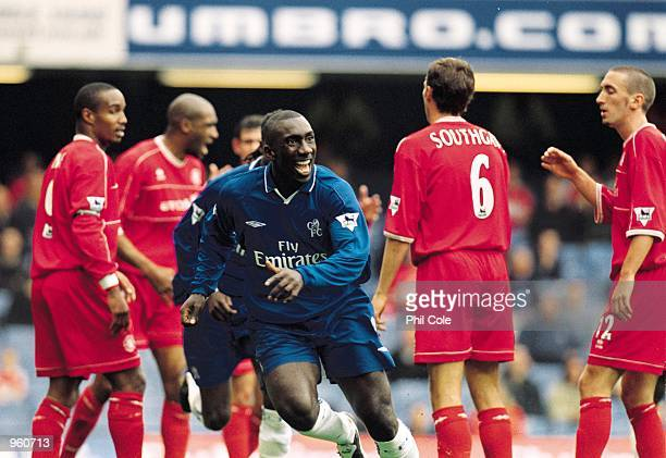Jimmy Floyd Hasselbaink of Chelsea celebrates his goal during the FA Barclaycard Premiership match against Middlesbrough played at Stamford Bridge in...