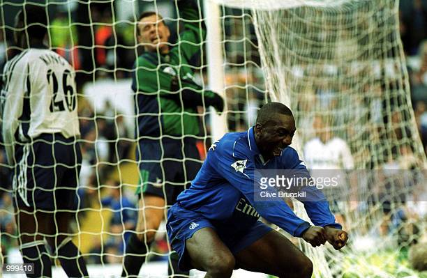Jimmy Floyd Hasselbaink of Chelsea celebrates the first goal during the FA Barclaycard Premiership match between Tottenham Hotspur and Chelsea at...