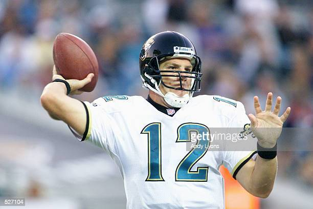 Jonathan Quinn quarterback of the Jacksonville Jaguars throws a pass versus the Cleveland Browns in their game at Alltel Stadium in Jacksonville...