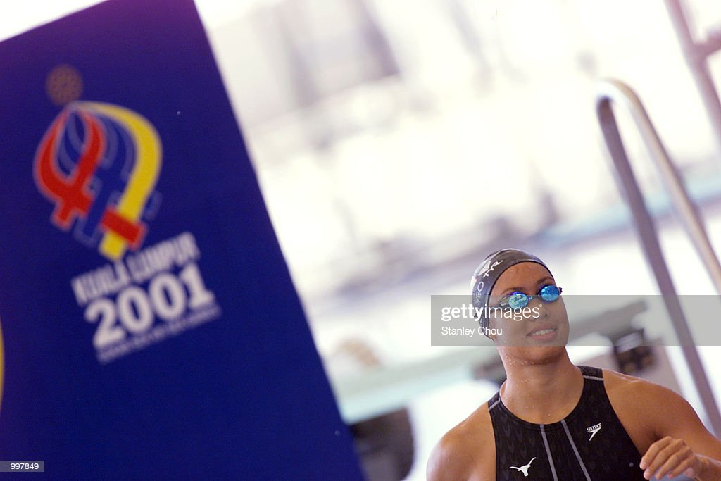 Joscelin Yeo of Singapore prepares herself for the 100M Freestyles'' Heat Event held at the National Aquatics Centre, Kuala Lumpur, Malaysia during the 21st South East Asian Games. DIGITAL IMAGE. Mandatory Credit: Stanley Chou/ALLSPORT
