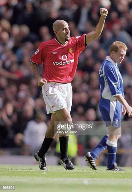 Juan Sebastian Veron of Manchester United celebrates his goal during the FA Barclaycard Premiership match against Everton played at Old Trafford in...