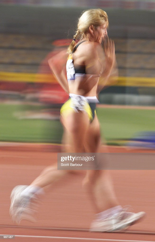 Kerry Saxby-Junna of Australia in action during the Womens 20000 Metres Walk during the athletics at the ANZ Stadium during the Goodwill Games in Brisbane, Australia. DIGITAL IMAGE Mandatory Credit: Scott Barbour/ALLSPORT