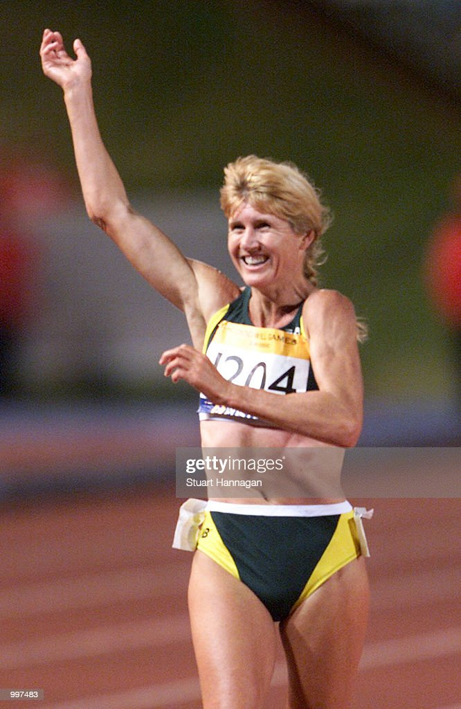 Kerry Saxby-Junna of Australia waves to the crowd after possibly her last race in the Womens 20000 Metres Track Walk during the athletics at the ANZ Stadium during the Goodwill Games in Brisbane, Australia. DIGITAL IMAGE Mandatory Credit: Stuart Hannagan/ALLSPORT