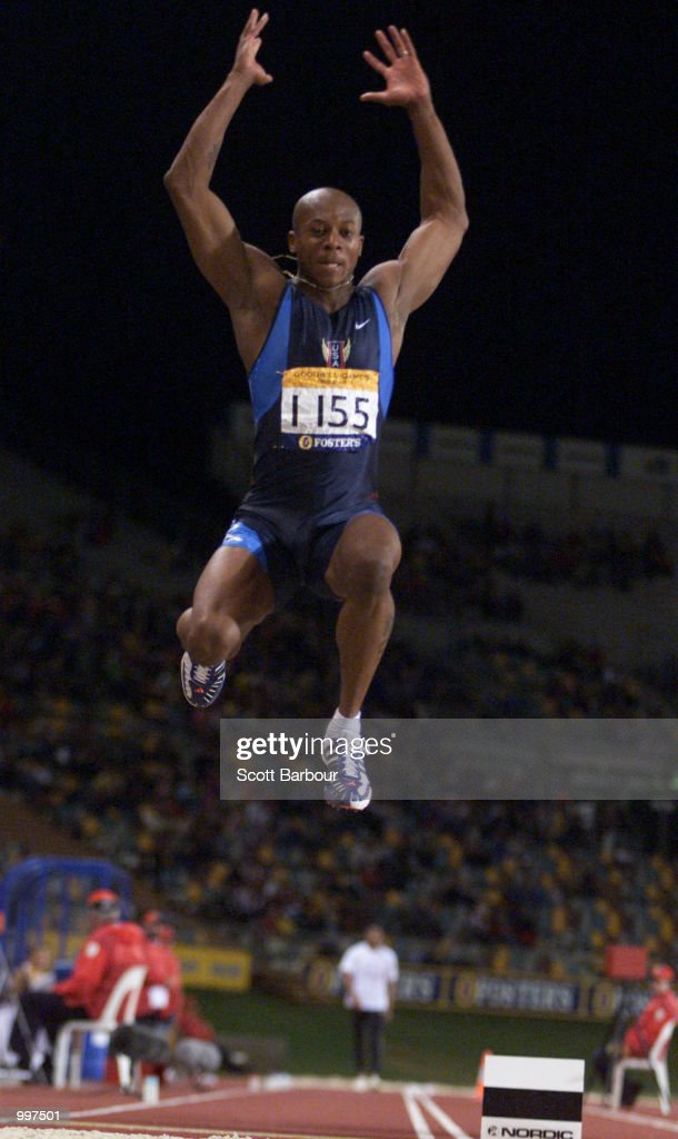 Kevin Dilworth of the USA in action during the Mens Long Jump during the athletics at the ANZ Stadium during the Goodwill Games in Brisbane, Australia. DIGITAL IMAGE Mandatory Credit: Scott Barbour/ALLSPORT