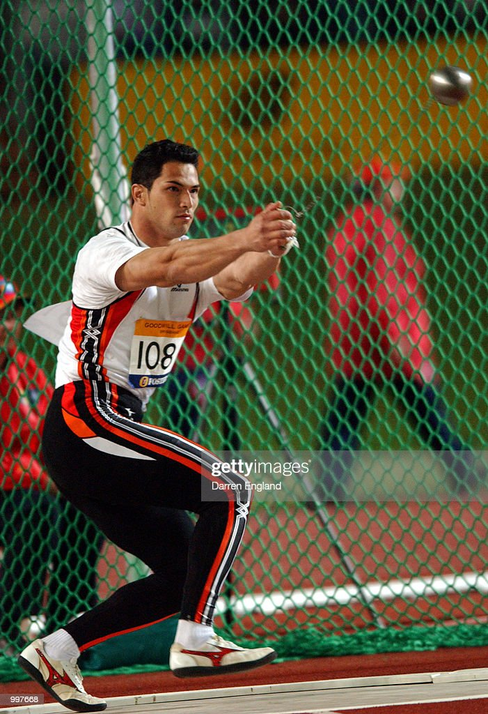Koji Murofushi of Japan in action during the Mens Hammer during the athletics at the ANZ Stadium during the Goodwill Games in Brisbane, Australia. DIGITAL IMAGE Mandatory Credit: Darren England/ALLSPORT