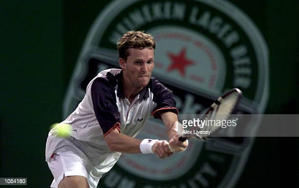 Lars Burgsmuller of Germany in action during his first round defeat by Byron Black of Zimbabwe at the Heineken Open in Shanghai China Black won 76 63...