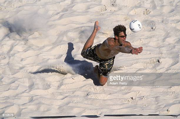 Lee Le Grand digs the ball during the AVP King and Queen of the Beach at the Hard Rock Hotel in Las Vegas NevedaMandatory Credit Adam Pretty/AUS...