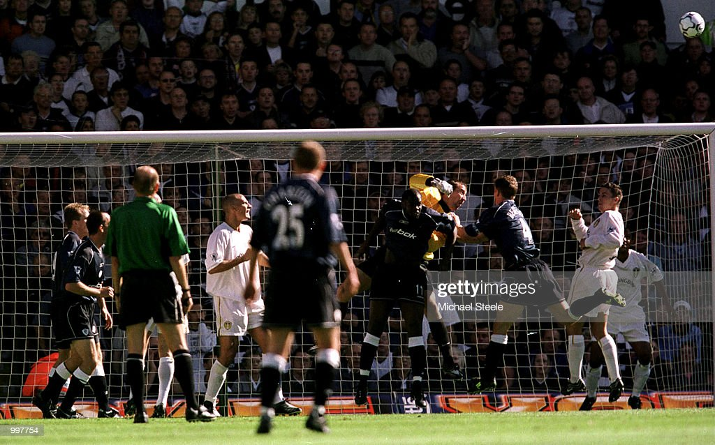 Leeds goalkeeper Nigel Martyn punches clear during the FA Barclaycard Premiership match between Leeds United and Bolton Wanderers at Elland Road, Leeds. Mandatory Credit: Michael Steele/ALLSPORT