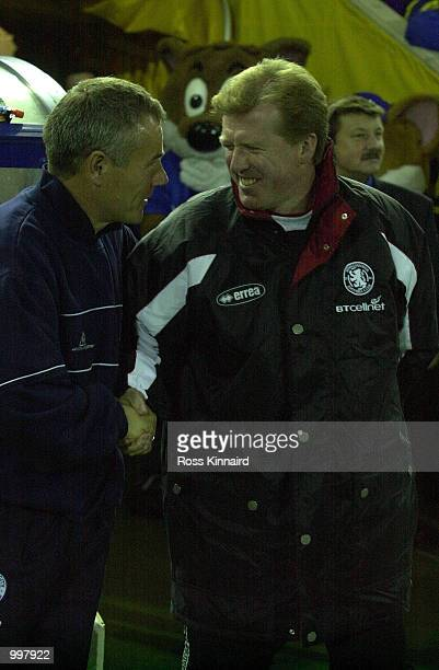 Leicester manager Peter Taylor and Middlesbrough manager Steve McClaren share a joke during the Leicester City v Middlesbrough FA Barclaycard...