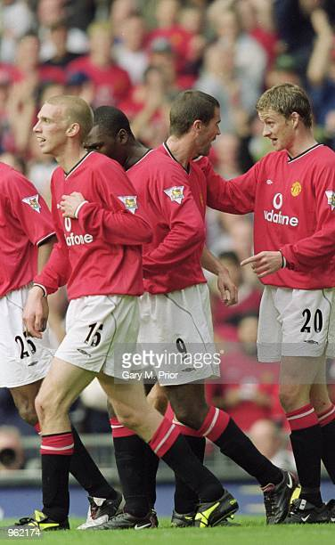 Manchester United players celebrate as another goal goes in during the FA Barclaycard Premiership match against Ipswich Town played at Old Trafford...