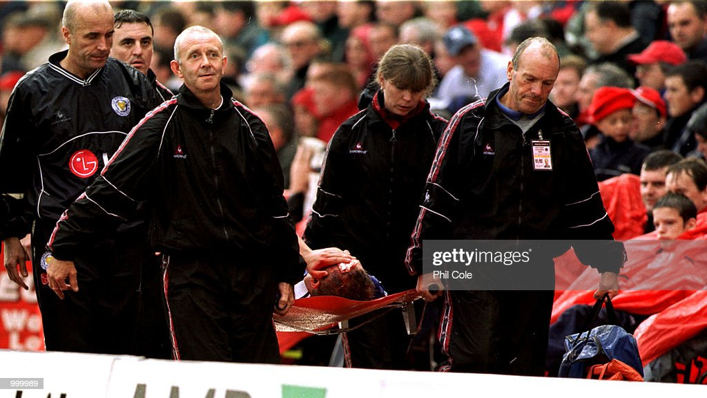 Matt Heath of Leicester is carried off injured during the FA Barclaycard Premiership match between Charlton Athletic and Leicester City at The Valley, London. Mandatory Credit: Phil Cole/ALLSPORT
