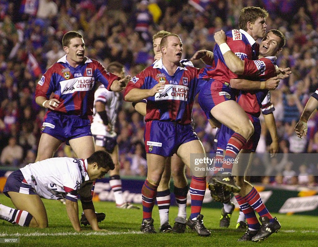 Matthew Gidley #3 of the Knights celebrates after scoring a try during the NRL second qualifying final between the Newcastle Knights and the Sydney Roosters held at Marathon Stadium, Newcastle, Australia. The Knights won the match 40-6. DIGITAL IMAGE Mandatory Credit: Chris McGrath/ALLSPORT