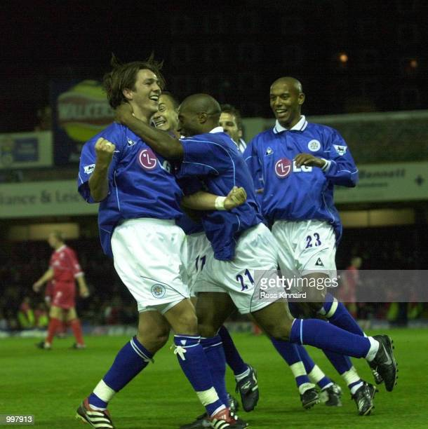 Matthew Jones of Leicester celebrates scoring during the Leicester City v Middlesbrough FA Barclaycard Premiership match at Filbert St Leicester...