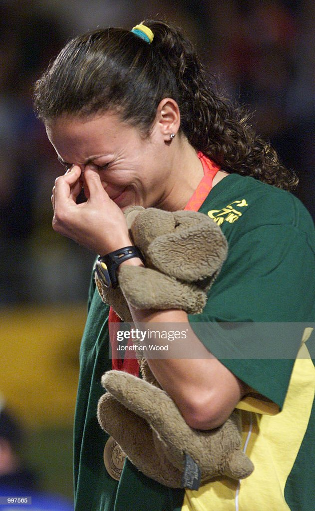 Maurren Higa Maggi of Brazil breaks down after winning the Gold medal in the Womens Long Jump during the athletics at the ANZ Stadium during the Goodwill Games in Brisbane, Australia. DIGITAL IMAGE Mandatory Credit: Jonathan Wood/ALLSPORT