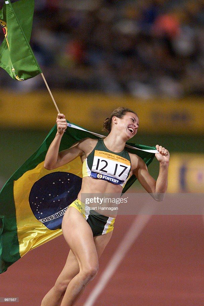 Maurren Higa Maggi of Brazil celebrates winning the Womens Long Jump during the athletics at the ANZ Stadium during the Goodwill Games in Brisbane, Australia. DIGITAL IMAGE Mandatory Credit: Stuart Hannagan/ALLSPORT