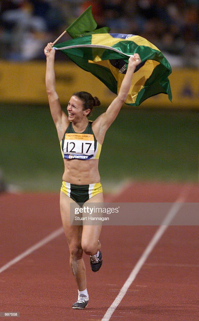 Maurren Higa Maggi of Brazil celebrates winning the Womens Long Jump during the athletics at the ANZ Stadium during the Goodwill Games in Brisbane, Australia. DIGITAL IMAGE Mandatory Credit: Stuart Hannagan/ALLSPORT