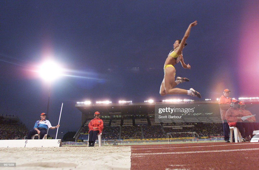 Maurren Higa Maggi of Brazil in action whilst winning the Womens Long Jump during the athletics at the ANZ Stadium during the Goodwill Games in Brisbane, Australia. DIGITAL IMAGE Mandatory Credit: Scott Barbour/ALLSPORT