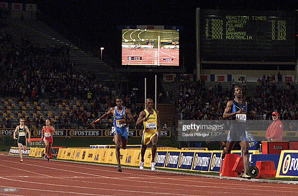 Michael Johnson of the USA crosses the finish line for the last time as he retires as the USA win the 4 x 400 Metres Relay during the athletics at the ANZ Stadium during the Goodwill Games in Brisbane, Australia. DIGITAL IMAGE Mandatory Credit: David Pillinger/ALLSPORT