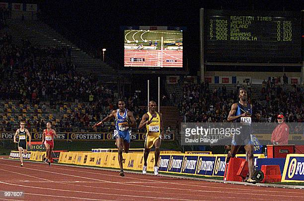Michael Johnson of the USA crosses the finish line for the last time as he retires as the USA win the 4 x 400 Metres Relay during the athletics at...