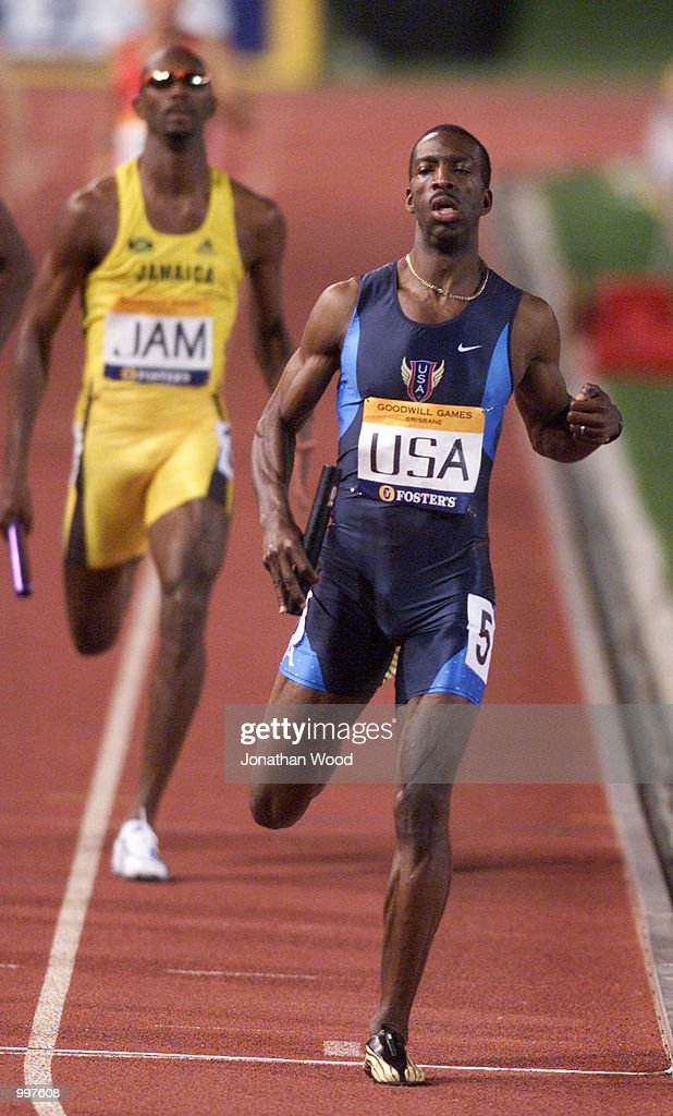 Michael Johnson of the USA crosses the finish line for the last time as he retires as the USA win the 4 x 400 Metres Relay during the athletics at the ANZ Stadium during the Goodwill Games in Brisbane, Australia. DIGITAL IMAGE Mandatory Credit: Jonathan Wood/ALLSPORT