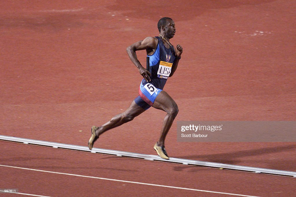Michael Johnson of the USA in action as he retires as the USA win the 4 x 400 Metres Relay during the athletics at the ANZ Stadium during the Goodwill Games in Brisbane, Australia. DIGITAL IMAGE Mandatory Credit: Scott Barbour/ALLSPORT
