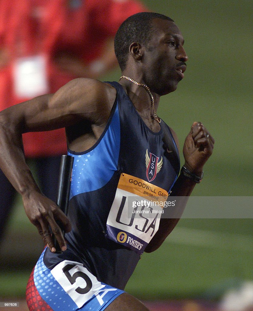 Michael Johnson of the USA in action during the Men's 4 x 400 Metres relay event, held as part of the Goodwill Games at ANZ Stadium, Brisbane, Australia. DIGITAL IMAGE. Mandatory Credit: Jonathan Wood/ALLSPORT