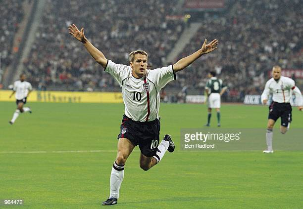 Michael Owen of England celebrates scoring a goal during the FIFA 2002 World Cup Qualifier against Germany played at the Olympic Stadium in Munich...