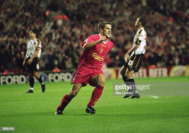 Michael Owen of Liverpool celebrates scoring the equalising goal during the UEFA Champions League Group B match against Boavista played at Anfield in...