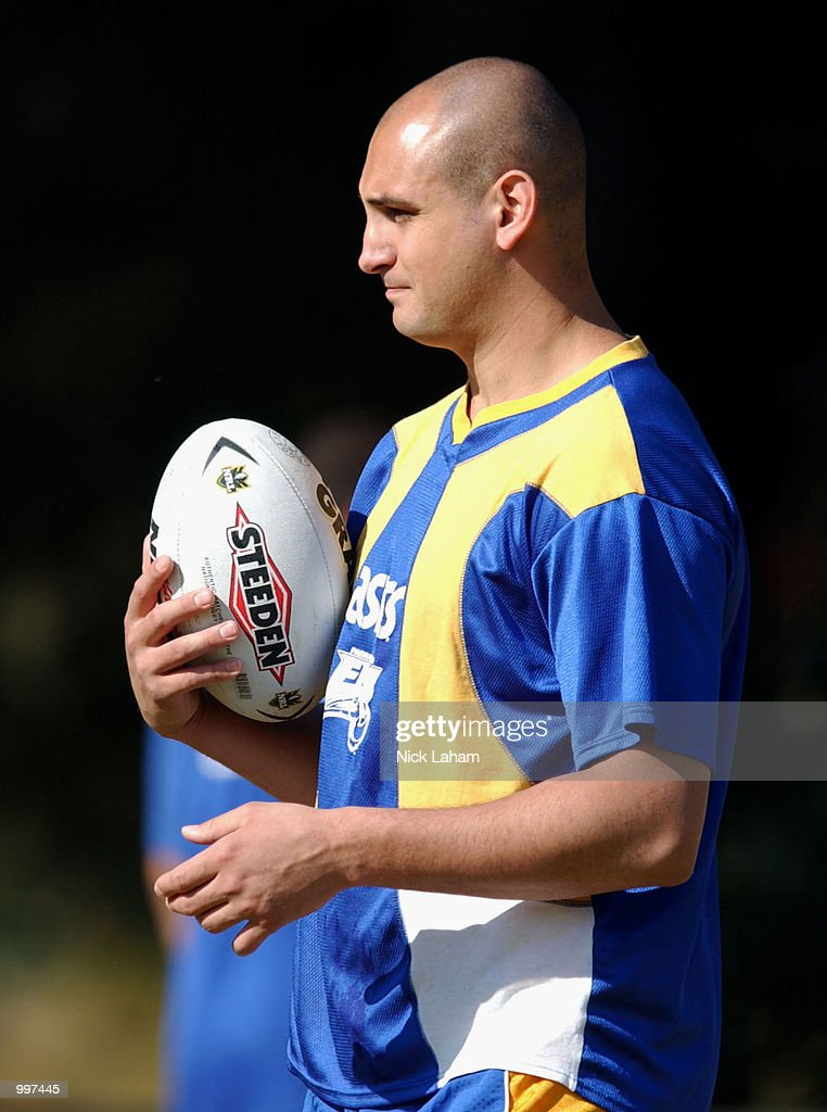 Michael Vella watches on as his team mates train during the Parramatta Eels Training session, ahead of their Sunday NRL match with the New Zealand Warriors, held at Parramatta Stadium, Sydney, Australia. DIGITAL IMAGE Mandatory Credit: NickLaham/ALLSPORT