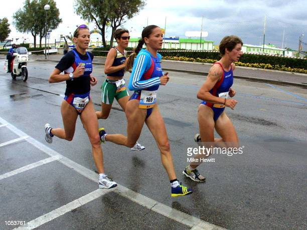 Michelle Dillon of Great Britain Erika Csomor of Hungary Annie Emmerson of Great Britain and Vicky Pincombe also of Great Britain lead during the...