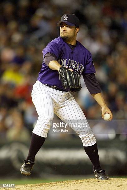 Mike Hampton of the Colorado Rockies winds up for a pitch against the Los Angeles Dodgers during the game at Coors Field in Denver Colorado The...