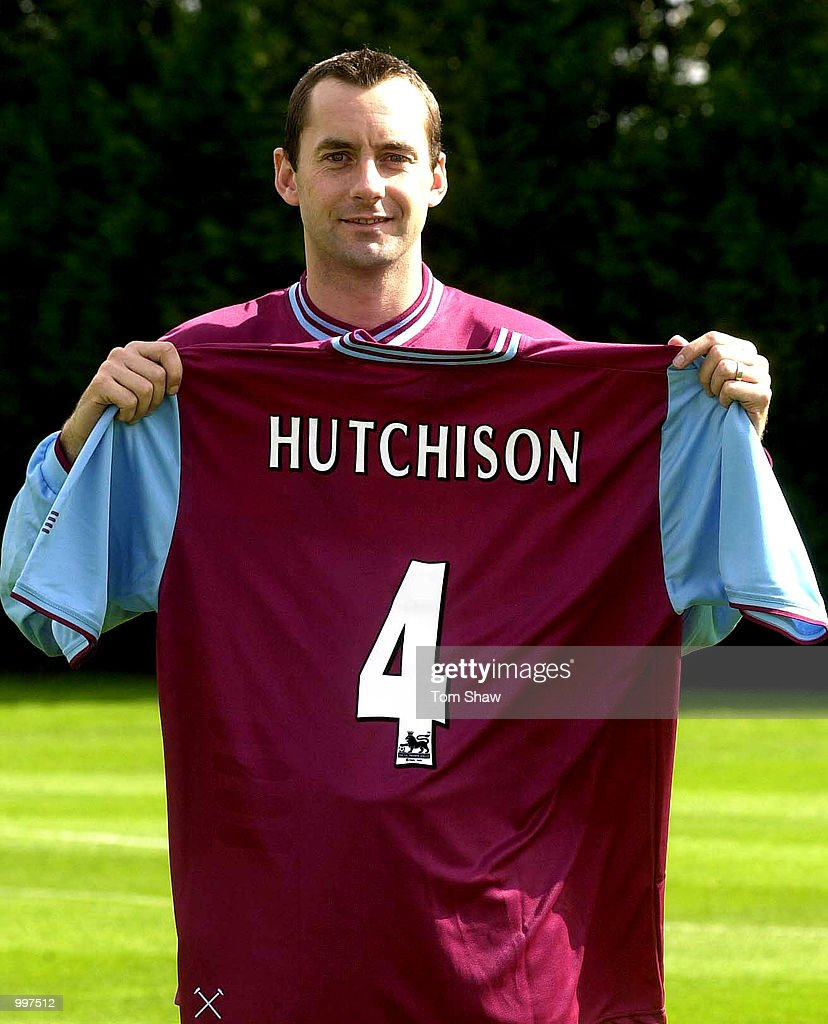 New Signing Don Hutchison of West Ham poses with a shirt at a press conference at the West Ham Training Ground, Chadwell Heath, London. DIGITAL IMAGE. Mandatory Credit: Tom Shaw/ALLSPORT