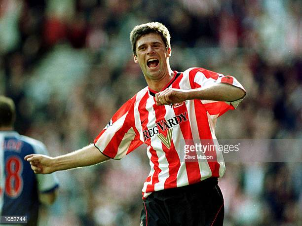 Niall Quinn of Sunderland celebrates scoring the winner during the match between Sunderland and Blackburn Rovers in the FA Barclaycard Premiership,...