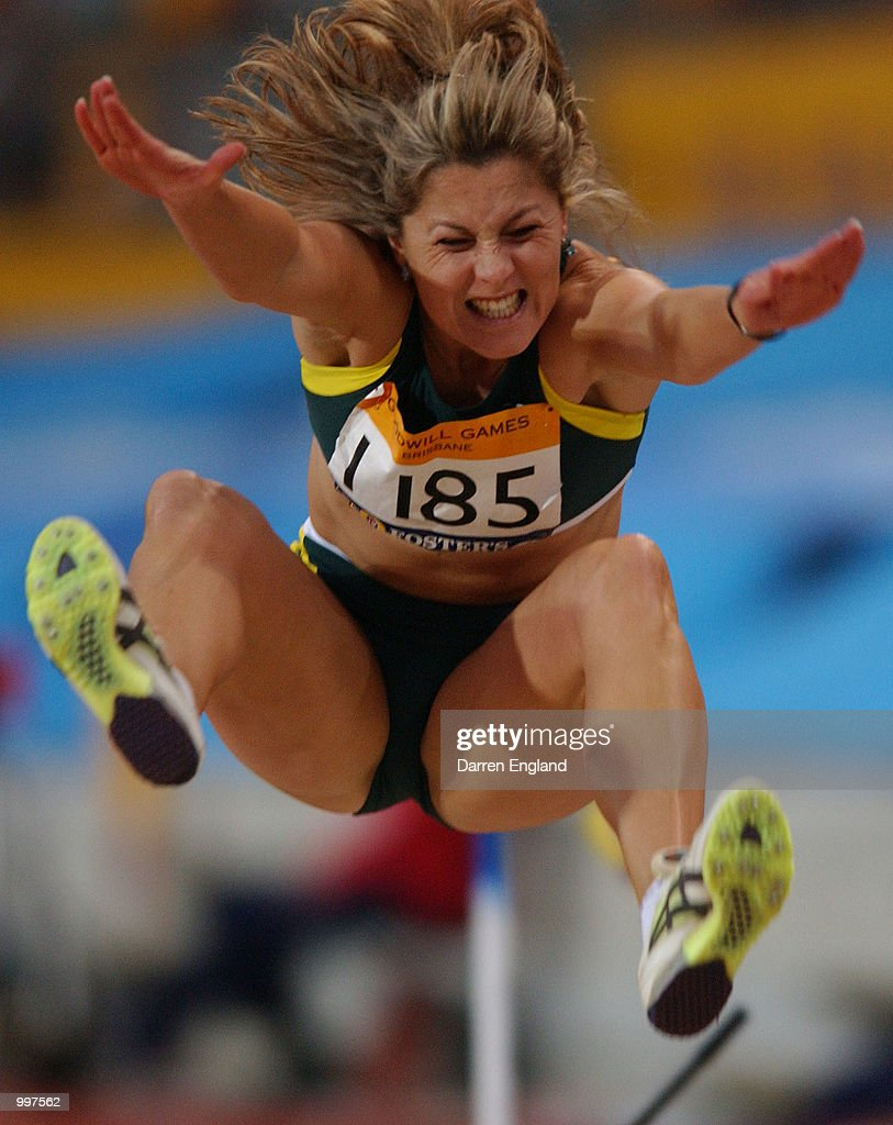 Nicole Boegman of Australia in action during the Womens Long Jump during the athletics at the ANZ Stadium during the Goodwill Games in Brisbane, Australia. DIGITAL IMAGE Mandatory Credit: Darren England/ALLSPORT