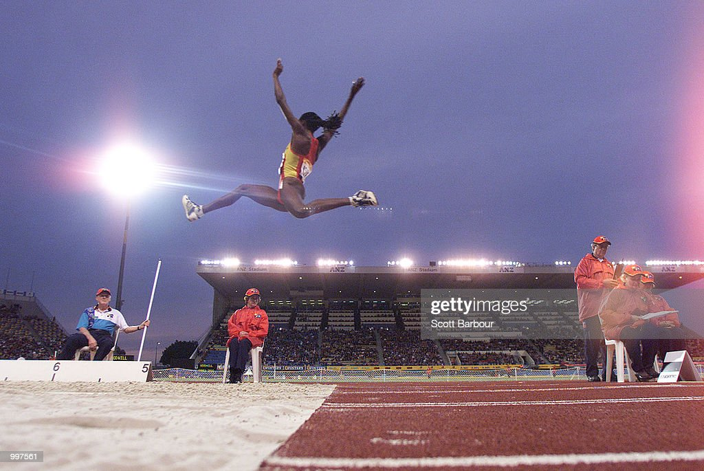 Niurka Montalvo of Spain in action during the Womens Long Jump during the athletics at the ANZ Stadium during the Goodwill Games in Brisbane, Australia. DIGITAL IMAGE Mandatory Credit: Scott Barbour/ALLSPORT