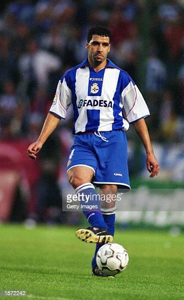 Nourredine Naybet of Deportivo La Coruna passes the ball during the Spanish Primera Liga match against Celta Vigo played at the Estadio Riazor in La...