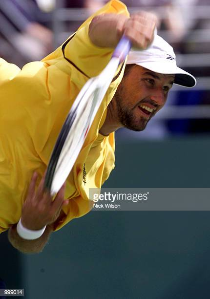 Pat Rafter of Australia in action during his dead rubber match with Jonas Bjorkman of Sweden during the third day's play in the Davis Cup Semi Final...