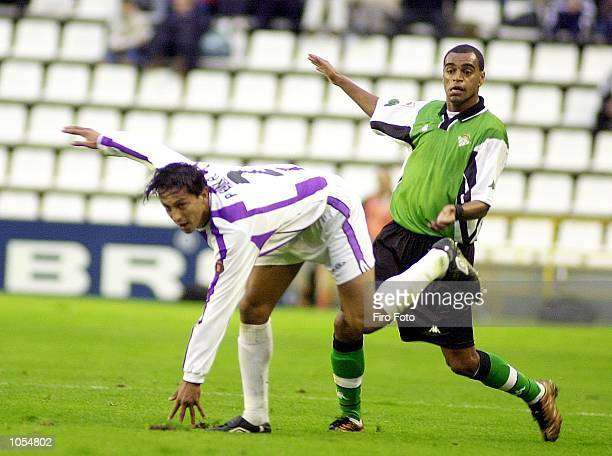 Pe a of Valladolid and Denilson of Betis clash during the Primera Liga match between Valladolid and Real Betis at the Jose Zorrilla Stadium...