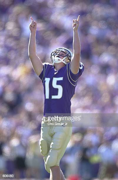 Place kicker John Anderson of the Washington Huskies celebrates a field goal during the game against the Michigan Wolverines at Husky Stadium in...