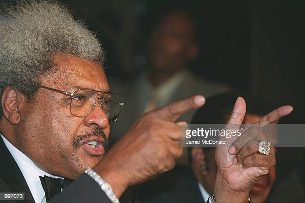 Promoter Don King makes his point at a press conference in Sound, Leicester Square, London, to announce the forthcoming rematch between Hasim Rahman...