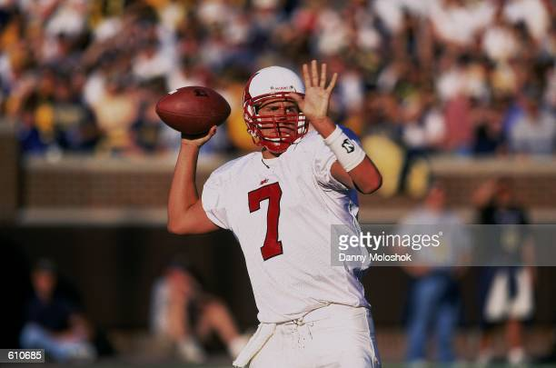Quarterback Ben Roethlisberger of the Miami Ohio Redhawks throwing the ball during the game against the Michigan Wolverines at Michigan Stadium in...
